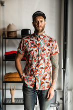 Naked & Famous - Short Sleeve Easy Shirt - Jungle Vacation - Orange / Teal