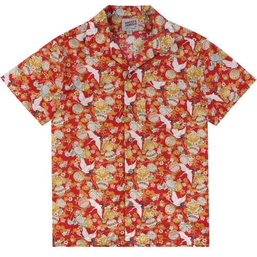 Naked & Famous - Aloha Shirt - Japan Tsuru Festival - Red