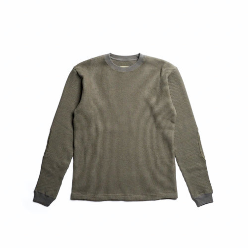 ADDICT Clothes - Heavy Weight Waffle Crew - Olive Green
