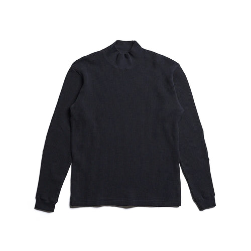 Addict Clothes - Heavy Weight Waffle Moc Neck Crew - Black