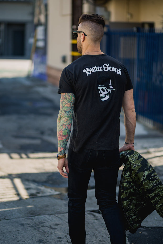 ButterScotch x Left Field NYC Skull Chainstitch Pocket Tee - Black