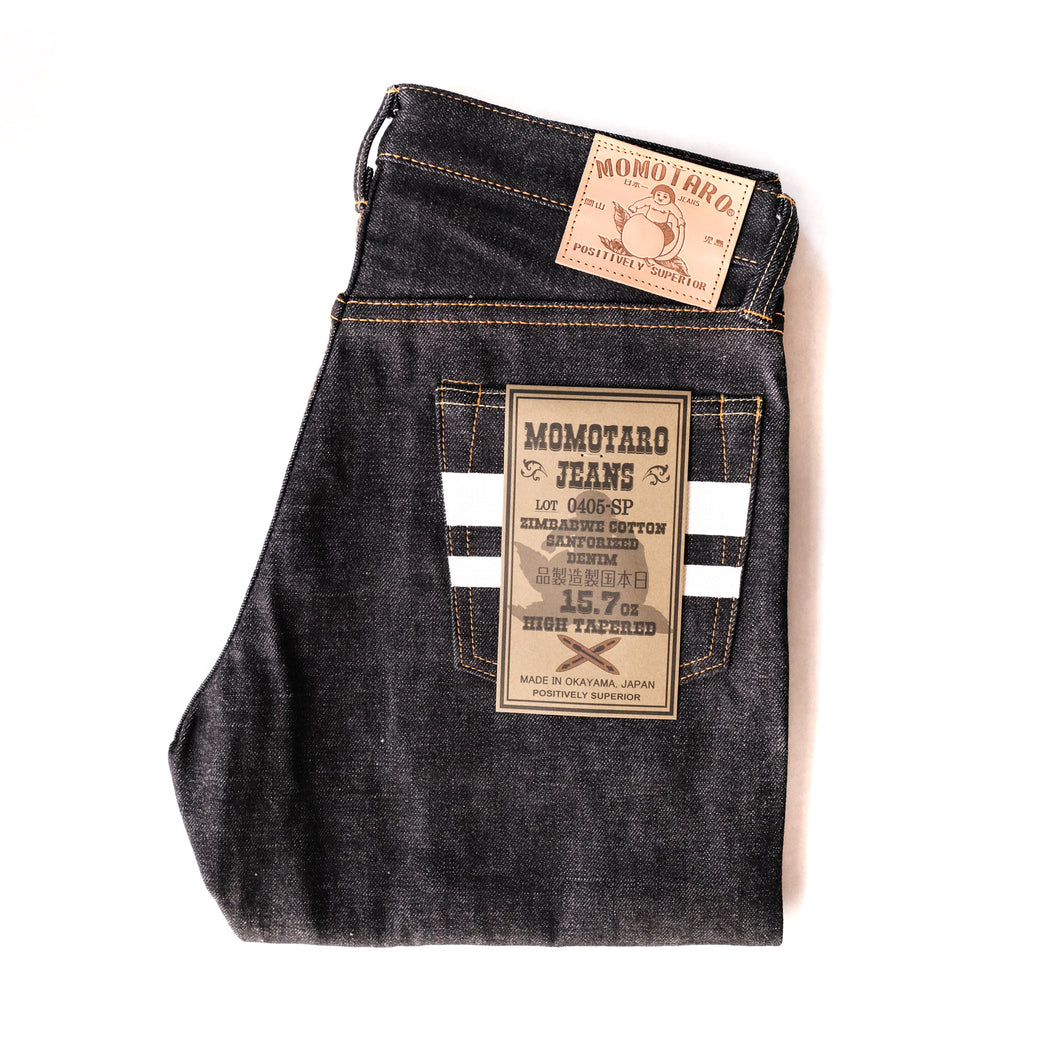 Momotaro - High Tapered - 15.7oz Zimbabwe w/ Battle Stripes