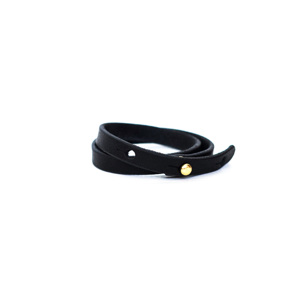 Haiti Design Co. - Double Wrap Leather Bracelet - Black