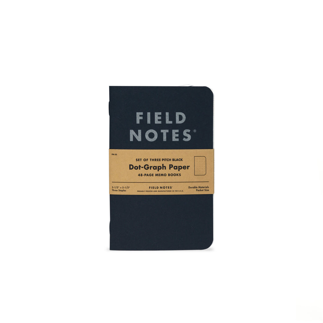 Field Notes - Pitch Black - Memo Ruled (3pk)