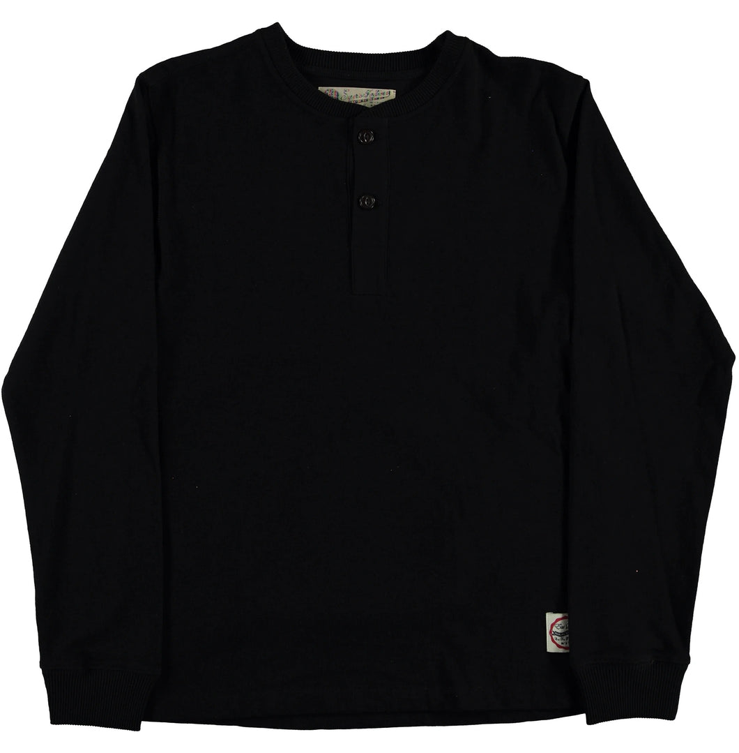 Eat Dust - Heavy Slub LS Henley - Black