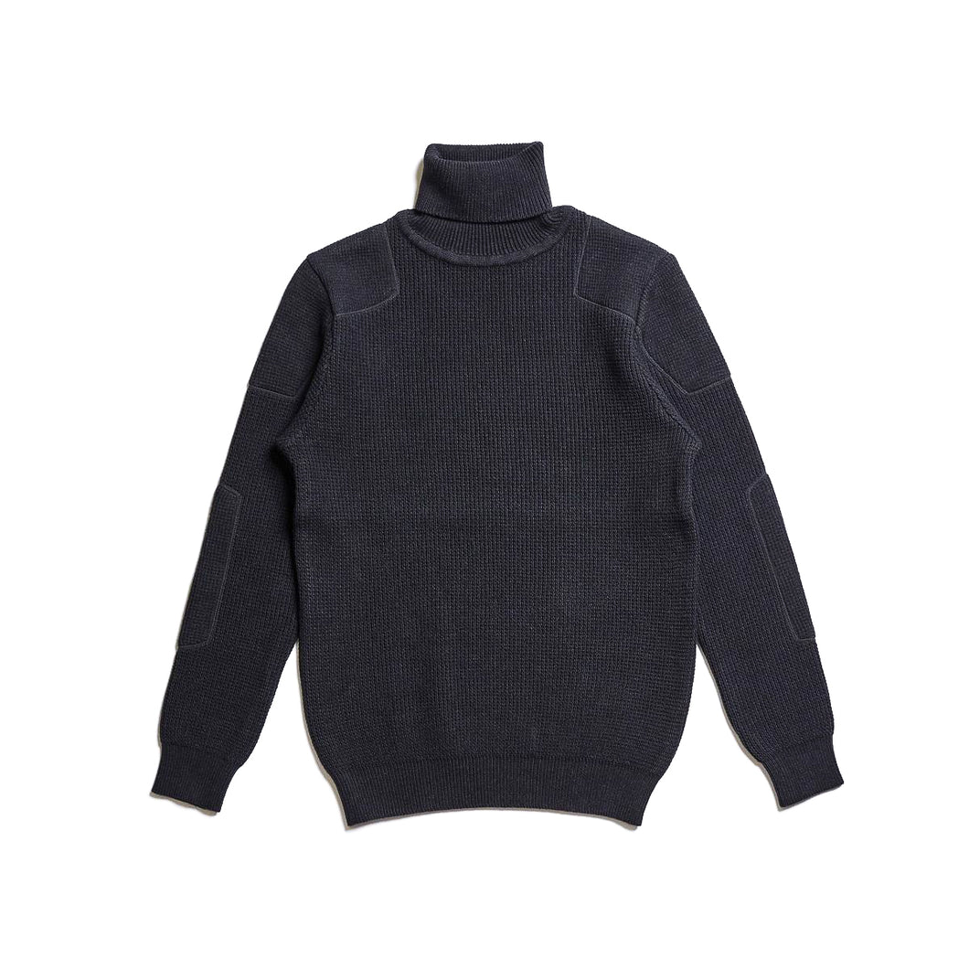 ADDICT Clothes - Padded Waffle Knit Turtle Neck - Black