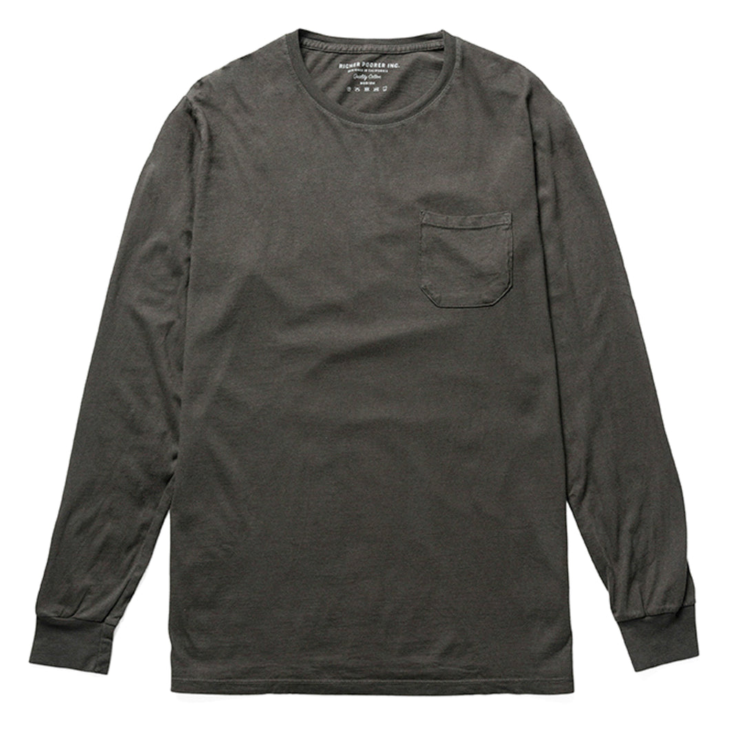 Richer Poorer - Long Sleeve Pocket Tee - Charcoal