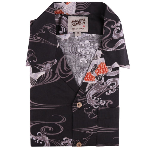 Naked & Famous - Aloha Shirt - Koi Fish - Black