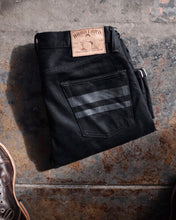 Momotaro - Tight Tapered - Black 15.7oz Zimbabwe w/ Black Battle Stripes