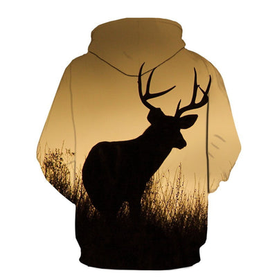 Deer at sunset over Printed Hoodie
