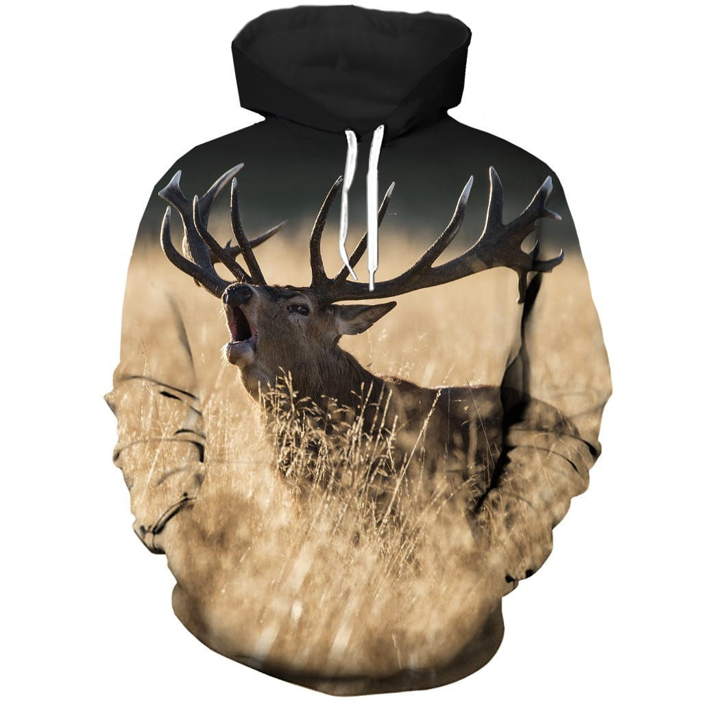 All Over Printed  deer roaring hoodie