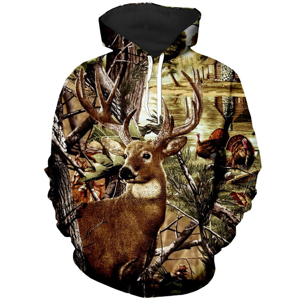 All Over Printed  deer and turkey camo hoodie