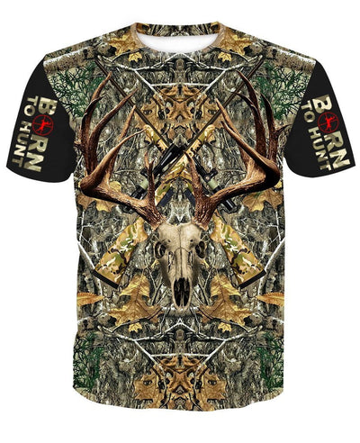 """BORN TO HUNT"" DEER HUNTING CAMO T-shirt"