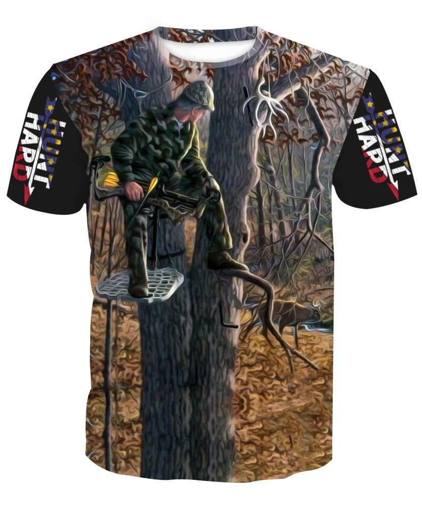 66db7f27ad1e9 tree stand hunting white tail deer Bow Hunter T-shirt