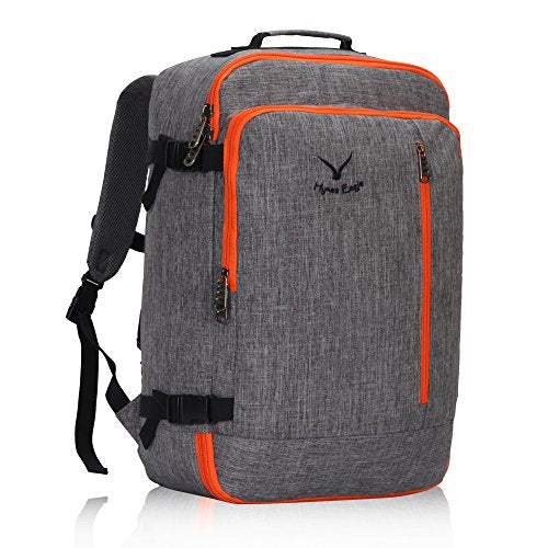 Hynes Eagle 38L Flight Approved Weekender Carry on Backpack OrangeGrey