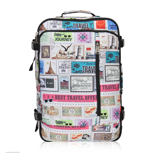 Hynes Eagle 38L Flight Approved Weekender Carry on Backpack Stamps