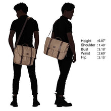Hynes Eagle Explorer Travel Shoulder Messenger Bags for 14 inch Laptop Men Women Lustrous Khaki