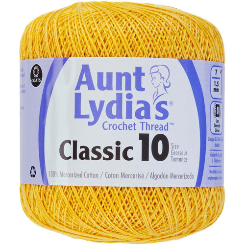 Aunt Lydia's Classic Crochet Thread Size 10 / Golden Yellow