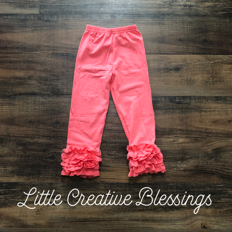 Coral Ruffle Leggings
