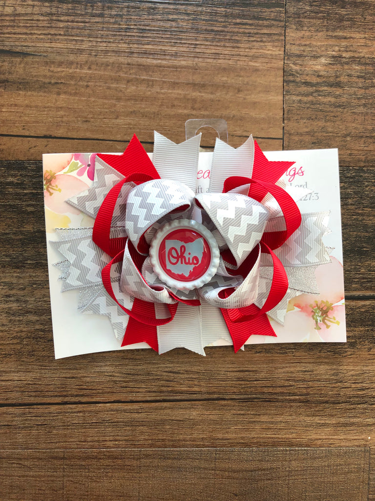 O-H-I-O bow with alligator clip