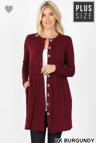 Maroon Long Cardigan Dress