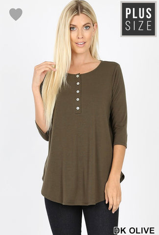 Olive Buttons-Plus size