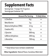 PRE DRIVE Supplement facts
