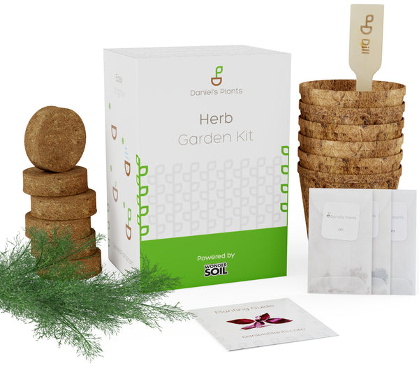 Herb Garden Starter Kit | Includes seeds, pots, soil wafers and birch plant markers