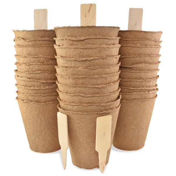 30 Pack 4-inch Large Peat Pots Biodegradable Round | Comes with 10 plant markers