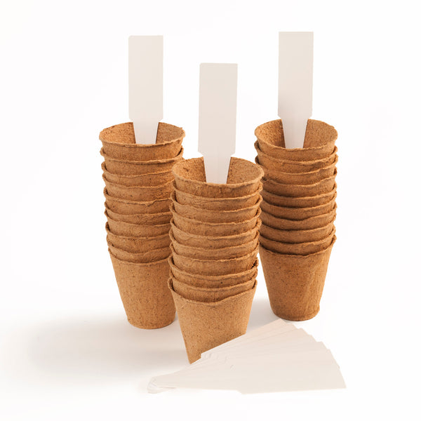 30 Pack 2-inch Small Peat Pots Biodegradable Round | Comes with 10 plant markers
