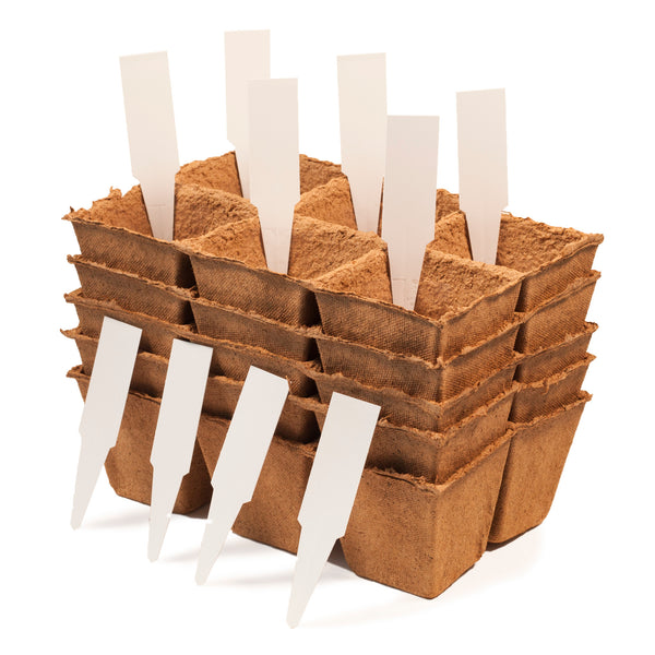 3-inch Biodegradable Peat Pot Trays 30-cell pack | For seed starting and germination | Comes with 10 plant markers