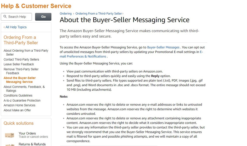 About the Amazon Buyer-Seller Messaging Service