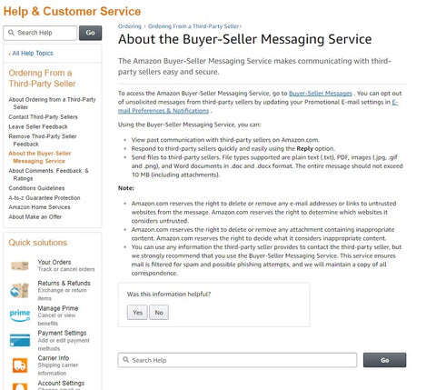 Amazon Buyer Seller Messaging Service