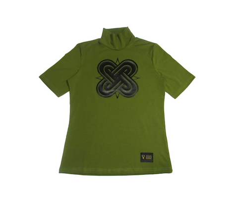 Eternal Knot Female Turtle Neck - Green&Black