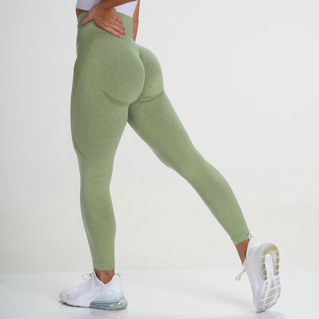 Olive Green Seamless Contour Leggings - Lirio Fitness