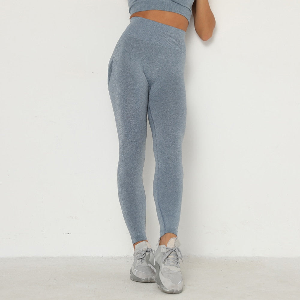 Stone Blue Booty Scrunch Contour Leggings - Lirio Fitness