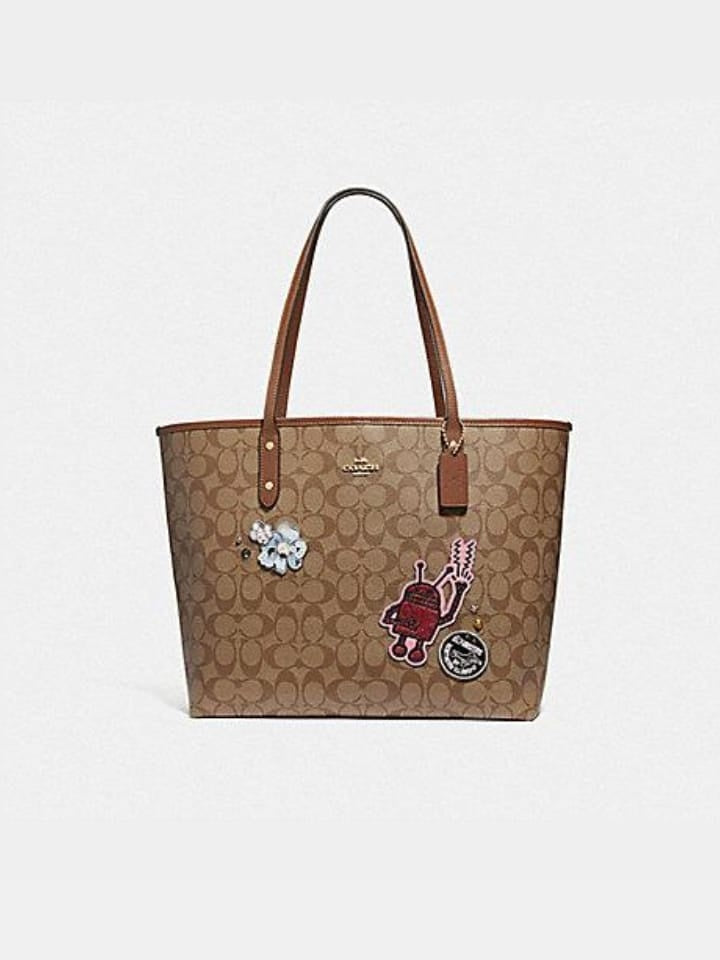 Coach F48728 Keith Haring Tote In Signature Canvas With Patches Khaki Multi