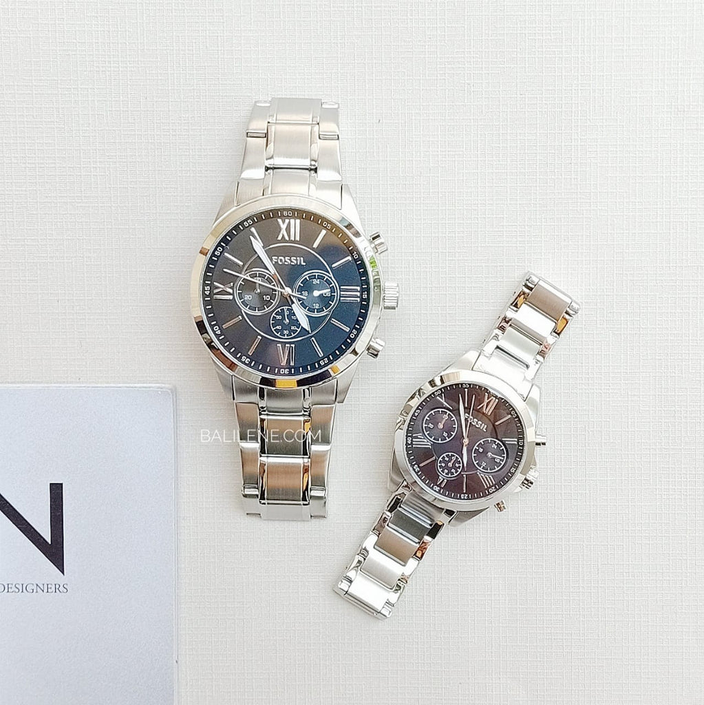 Fossil BQ2146SET His And Her Chronograph Stainless Steel Watch Gift Set