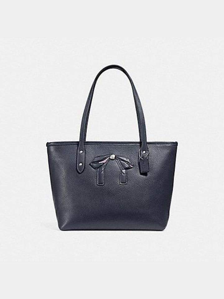 Coach F28988 Mini City Zip Tote With Bow Midnight