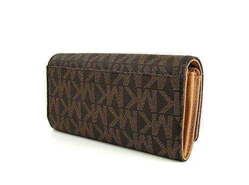 b83bd6fd7b95 Michael Kors Signature Brown acorn Fulton Flap Continental Clutch Wallet