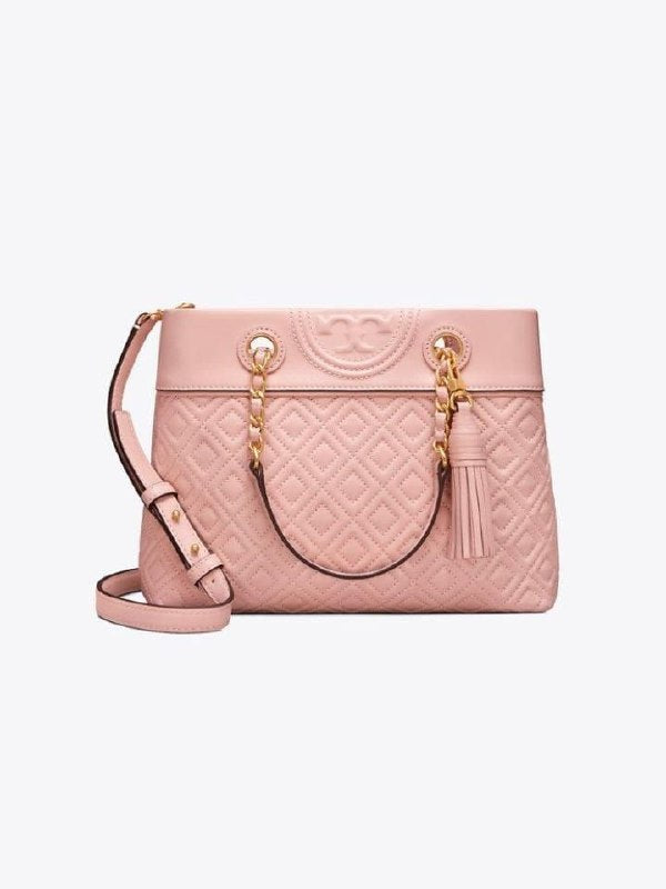 Tory Burch 48892 Fleming Small Tote Shell Pink Quilted Leather