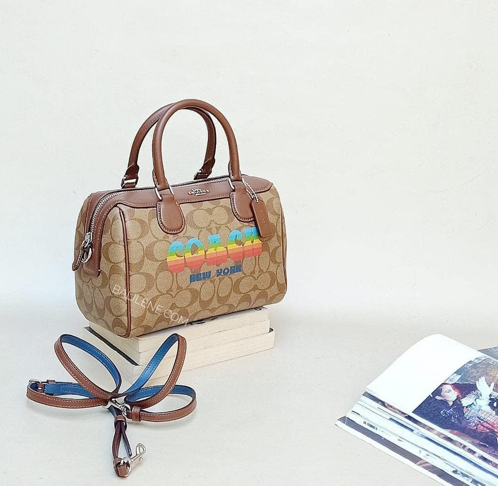 Coach F73119 Mini Bennet Satchel In Signature Canvas With Rainbow Animation