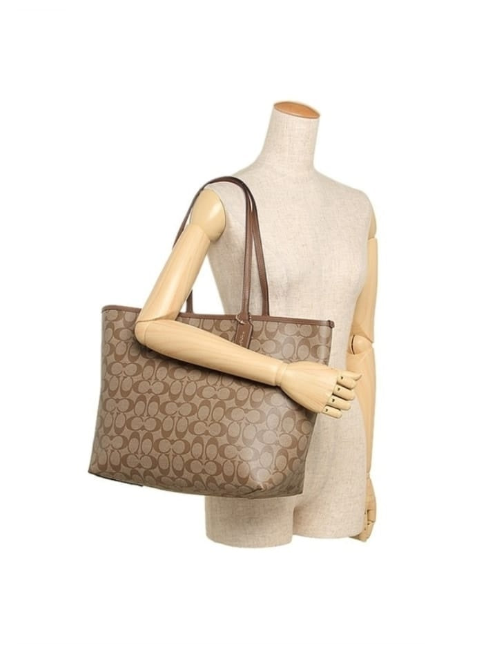 Coach 36658 Reversible Signature City Tote Khaki Saddle