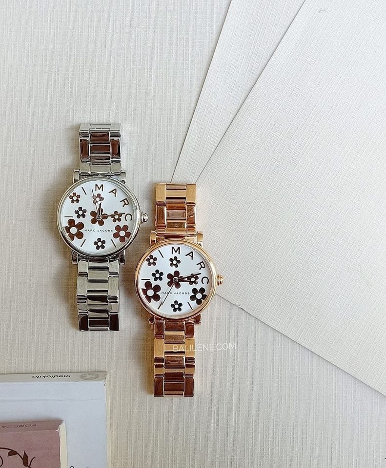 Marc Jacobs MJ3579 Ladies Classic Silver Flower Dial Bracelet Watch