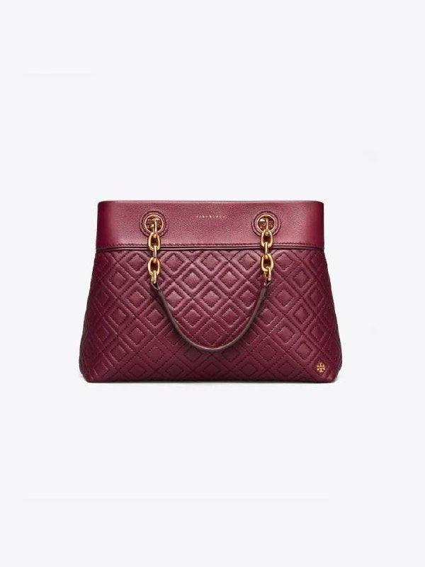 Tory Burch 48892 Fleming Small Tote Imperial Garnet Quilted Leather