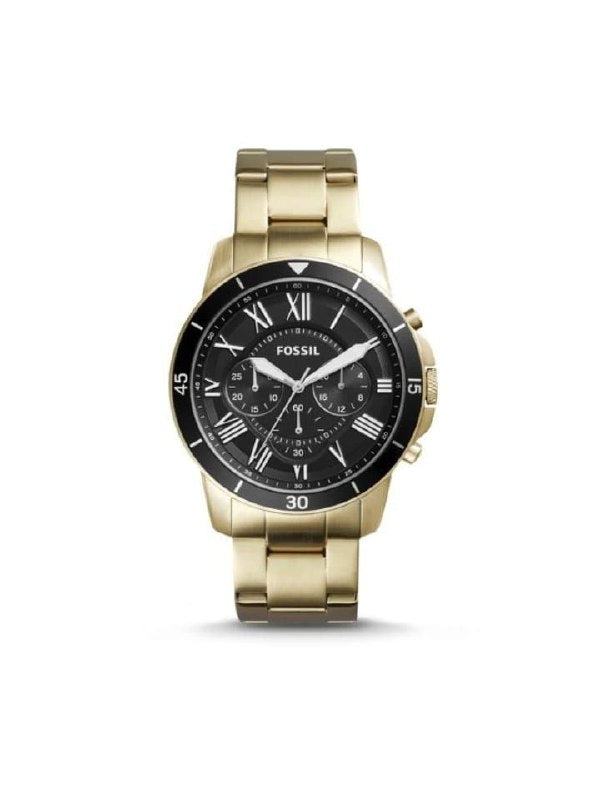 Fossil Grant Fs5267 Chronograph Men Black Dial Gold Stainless Steel Watch