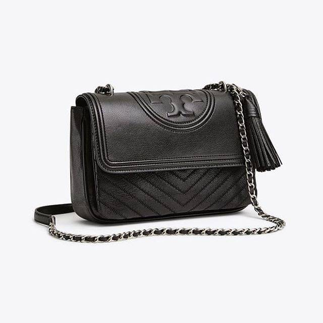 Tory Burch Fleming Distressed Flap Shoulder Black