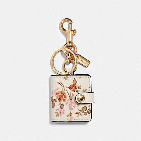 Coach 89985 Frame Bag Charm With Rose Bouqt Print Chalk Multi
