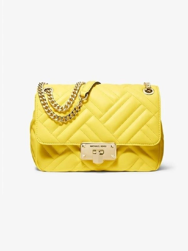 Michael Kors 35SOGP6F2U Peyton Medium Shoulder Flap Vegan Faux Sunshine