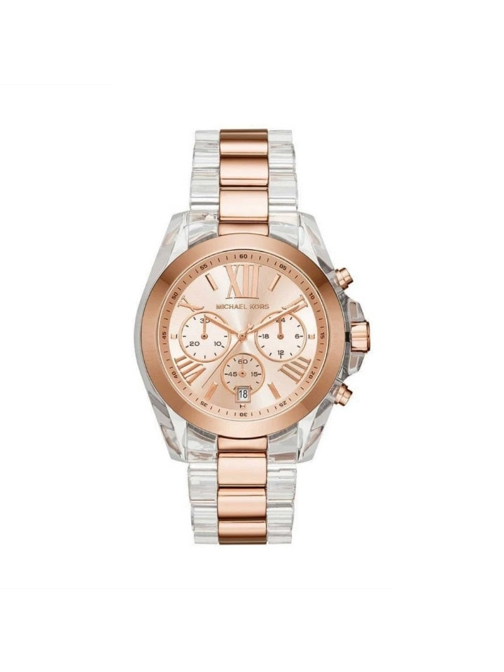 Michael Kors MK6358 Bradshaw Chronograph Two-tone Rose Gold Steel Clear Acetate Watch